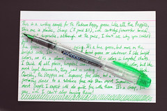green fountain pen preppy platinum indexcard 4x6 writingsample