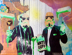 ANTI BUFF canvas (Scotch! ©) Tags: paper graffiti star starwars stencil paste canvas buff spraypaint drips wars scotch rollers anti stormtooper
