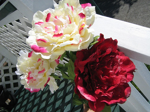 Wedding Decor Peony Flowers Cream & Red