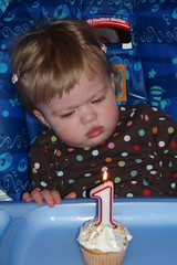 scowling at her birthday cupcake