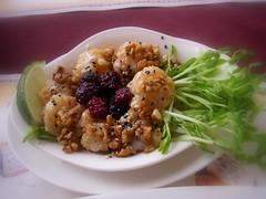 覆盆子鮮脆核桃蝦球飯