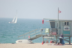 Windy Lifeguard Stand Day (dssinton) Tags: california sailboat hermosabeach lifeguardstand