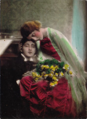 Tag card 28 (purpi_purp) Tags: woman man vintage postcard romantic handcolored reprint