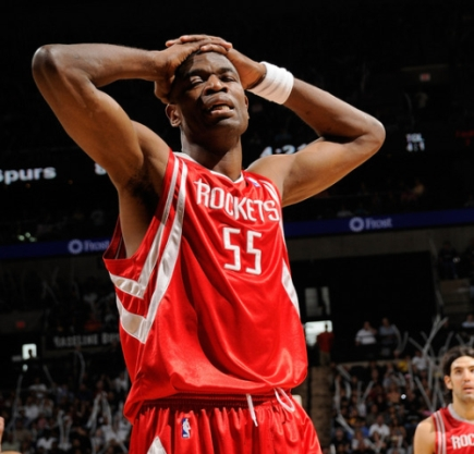 Dikembe Mutombo reacts after a referee's call Sunday afternoon in San Antonio as the Spurs blew out the Rockets, 109-88.  San Antonio shot 53% from the field, 64% in the first half while Houston only shot 40% with Tracy McGrady shooting only 23% for 13 points.