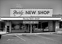 Nearly New Shop B&W (FotoEdge) Tags: blackandwhite bw signs vintage save mo give kansascity missouri nostalgic bargains kcmo nearlynew fotoedge nearlynewshop