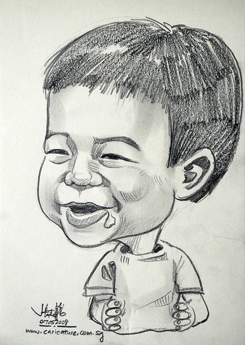 1 year old drooling birthday caricature in pencil