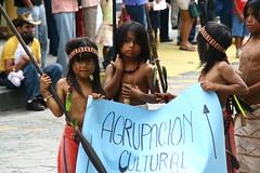 7191 Cultural group (paulappleton) Tags: people festival children ecuador amazon indigenous amazonian spear shuar puyo pastaza ecuadorean indigenouschildren