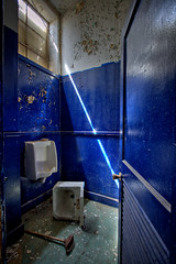 blue lagoon (rustyjaw) Tags: abandoned window bathroom peeling paint sink urbandecay warehouse urbanexploration restroom shipyard urinal usnavy hdr plunger bluelagoon mareisland
