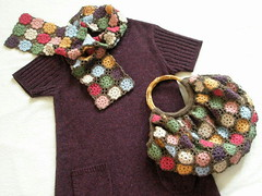wool cute Rose bag & Rose muffler