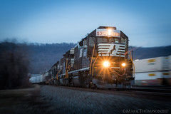 Blue Monday! (marko138) Tags: 33a cr8131 emd gp382 harrisburg ns5313 norfolksouthern pc8131 pitl pennsylvania pittsburghline bluehour blur exconrail expenncentral freighttrain locomotive mainline manifest middledivision railfan railroad railroadphotography slowshutter train zoompan winter