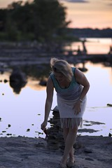 _MG_0299 (O Harris) Tags: blonde girl model sunset sundress water beach landscape forest rocks rocksculpture sky sandals canon canada