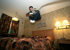 collect call (scienceduck) Tags: 15fav selfportrait ontario canada me public 1025fav 510fav hotel jump october phone wideangle moi 2007 fortfrances scienceduck bedjump hotelbedjump laplacerendezvous