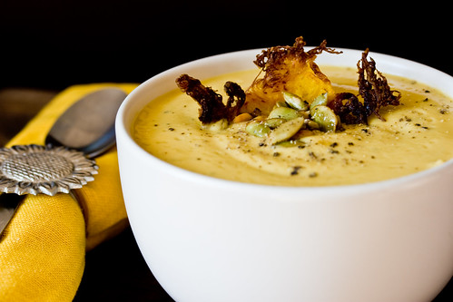 Rutabaga Sweet Potato Soup with Fried Spaghetti Squash and Toasted Pepitas