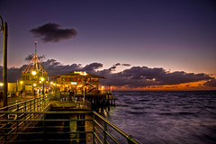 Santa Monica Pier (Candice (Bessie Smith)) Tags: ocean sunset sky orange water night clouds lights pier losangeles santamonica pacificocean santamonicapier jesters blueribbonwinner december9 mywinners diamondclassphotographer flickrdiamond excellentphotographerawards theperfectphotographer top20la funfanphotos photo365343 phpto365