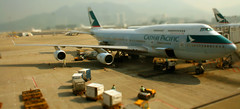 Cathay Pacific 747 (Ichthys101) Tags: photoshop canon hongkong pacific hong kong boeing airways cathay boeing747 hkg 747 edit b747 747400 cathaypacific boeing747400 tiltshift hkia cathaypacificairways miniaturized aerotagged vhhh eos400d aero:man=boeing aero:series=400 aero:model=747 cheplakkok aero:airline=cpa aero:airport=vhhh