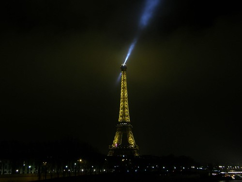 Eiffel Tower in a foggy night IV