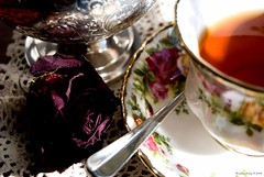 High Tea With Dried Rosebud (raisinsawdust - (aka: withaneyephotography)) Tags: fab stilllife tasse set silver still nikon artistic tea expression lace rosebud dried elegant teacup teatime soe saucer sugarbowl teaspoon blueribbonwinner d80 nikond80 superbmasterpiece ysplix onlythebestare macromix