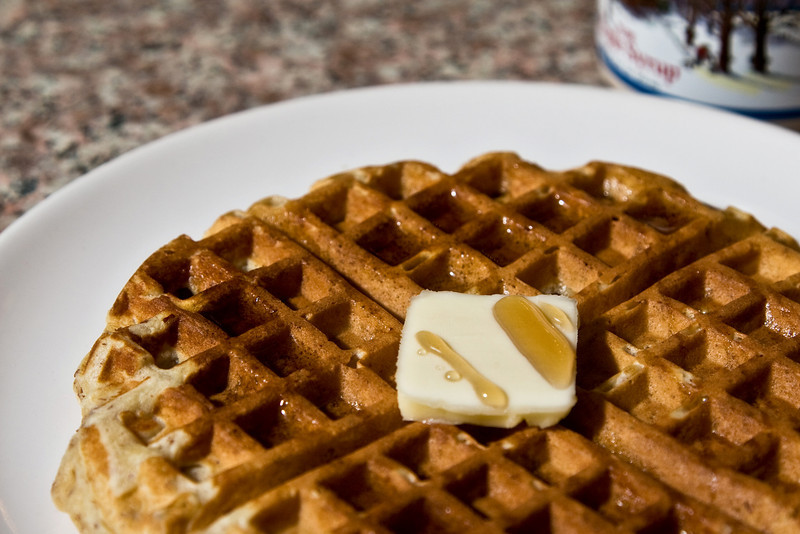 waffle with pat of butter