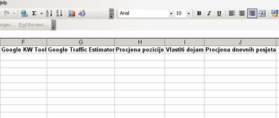 Excel kljucne rijeci