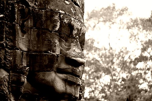 A Bayon Face Looks On, Cambodia