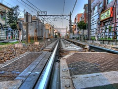 Railway Line, Early in the Morning (HDR) (Guwashi999) Tags: railroad morning japan tokyo perspective railway olympus hdr ikenoue photomatix tonemapped tonemapping gorillapod 5xp sp560uz