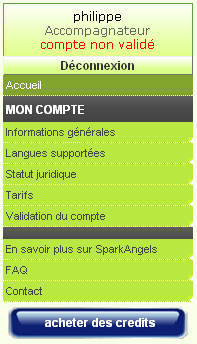 spark angels creation d'un compte