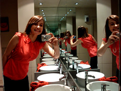 mirrror. (romanticheroine) Tags: camera pink red london smile bag lights mirror sink round multiple times tap toilets ask topshop