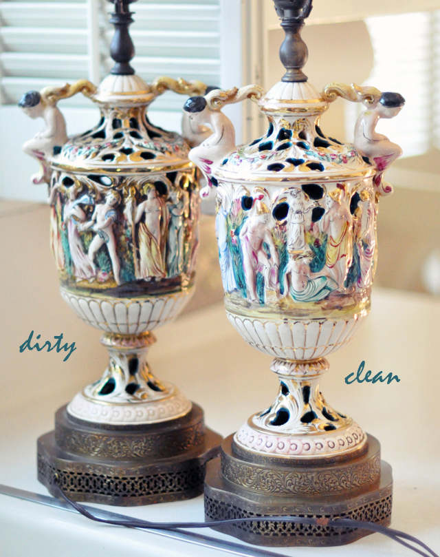 vintage capodimonte cherub lamps