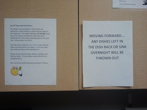 Moving forward...any dishes left in the dish rack or sink overnight will be thrown out.