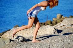 BAREFOOT GIRL, GRAVEL, CELL PHONE (lkurnarsky) Tags: ocean california beach girl women barefoot sensuality masochism