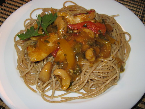 Thai Mango Chicken on Pasta