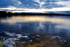 Fire and Ice (Jim's outside photos) Tags: sunset lake snow ice water rocks flash wisco