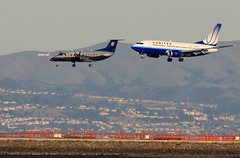 Triple Landings (A Sutanto) Tags: usa alaska america plane airport sfo aircraft united jet landing airline runway airliner turboprop airliners ua unitedairlines embraer alaskaairlines b737 beoing b737300 emb120 propliner as b733