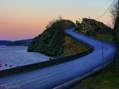 Blue road to Star Island (EyeTwoEye) Tags: road blue sea nature norway canon norge is photo strada dynamic outdoor blu norwegen vine powershot coastline hdr twine mandal s5