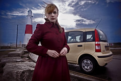 At Portland Bill Lighthouse (Miss Aniela) Tags: selfportrait mysister fiatpanda missaniela happy2008 takenwithahumantripod wheniwenttodorset tookafewattemptstogetitright andididmergetwoimagesintheendrobbedmyblowingfringefromonepicandputitontheother timetorant calist