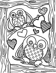 Color Me! Sock Owls (Sappymoosetree) Tags: mandy wood color tree bird socks hearts sock pattern image pages sew page owl coloring create draw sappymoosetree