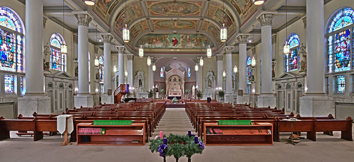 Saints Teresa and Bridget Roman Catholic Church, in Saint Louis, Missouri, USA - nave wide