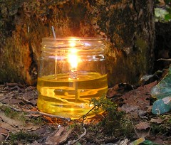 Home made vegetable oil lamp: Judyofthewoods.net