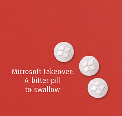 A bitter pill to swallow (net_efekt) Tags: red photoshop design yahoo artwork flickr graphic photoshopped protest creative icon anger microsoft ms pills swallow billgates bitter photoshopping takeover tabletten buyout ffdax