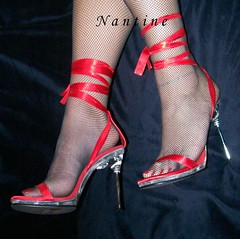 Red satin sandals  5 (Kwnstantina) Tags: red woman stockings fetish foot toes long highheels sandals fishnet nails satin pantyhose footfetish longlegs longnails paintedtoes highheeledsandals satinsandals femalelongnails