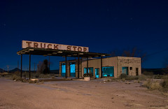 Truck Stop (Noel Kerns) Tags: abandoned night truck texas nightshot decay stop wilderness sierrablanca