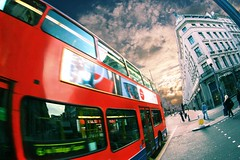 Red in a flash, London (The Other Martin Tenbones) Tags: uk red sky bus london fisheye