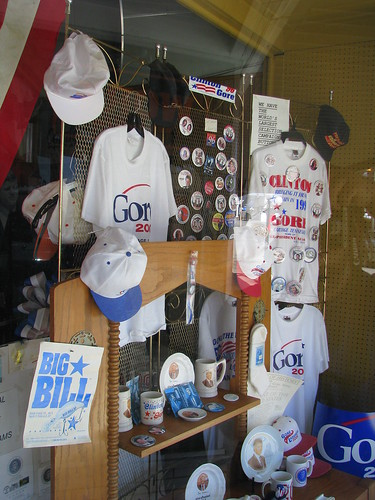 Looking inside the Al Gore store window