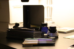 office supplies (Stephanie_Asher) Tags: black night diy office bottles kitlens productivity externalharddrive hipsterpda planner pockets indexcards hpda westerndigital mybook fountainpens 4x6 skrip 500gb fountainpenink expandingfile watermanfloridablue canondigitalrebelxti galison accordionfile hero329 sheaffercartridgepen hero330 heroaccountantspen