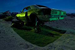 Broken Pony (Lost America) Tags: lightpainting abandoned car night fullmoon 1967 firebird pontiac junkyard highway395 nocturnes pearsonville