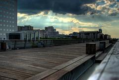 Twilight Walk (David Briard) Tags: france clouds outside pentax footbridge sigma nuages extérieur iledefrance hdr ladéfense passerelle hautsdeseine 5ex 1770mmf2845dcmacro k10d pentaxk10d davidbriard