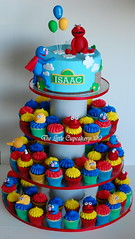Sesame Street Cupcake Tower (TheLittleCupcakery) Tags: birthday street bird tower cake big little sesame elmo grover tlc fondant cupcakery xirj klairescupcakes
