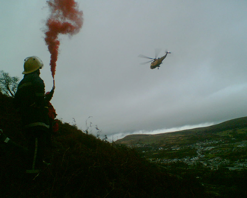 Mountain Rescue signalling for the RAF Helicopter to come to my rescue