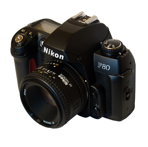 Nikon F80 (three-quarter view, with 50mm f1.8)