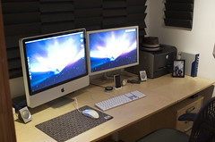 Home Office Setup (2007) (garrettmurray) Tags: ikea inch raw imac desk workspace 24 setup homeoffice mirra recordingstudio cinemadisplay iphone airportextremebasestation acousticfoam